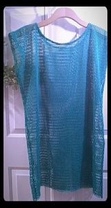 Swimsuit Coverup Mesh Teal Small